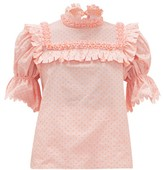 Horror Vacui Lucy Fil-coupe Cotton-poplin Blouse - Womens - Pink