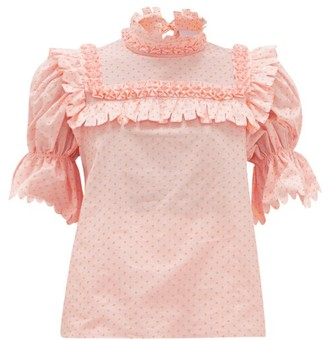 Horror Vacui Lucy Fil-coupe Cotton-poplin Blouse - Pink