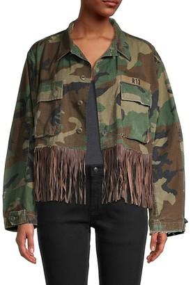 R 13 Camo-Print Cotton Long-Sleeve Jacket