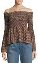 A.L.C. Agra Off-the-Shoulder Floral-Print Silk Top