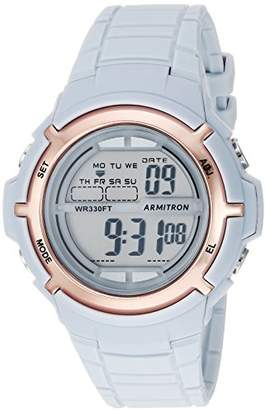 Armitron Sport Women's 45/7045PBL Rose Gold-Tone Accented Digital Powder Blue Resin Strap Watch