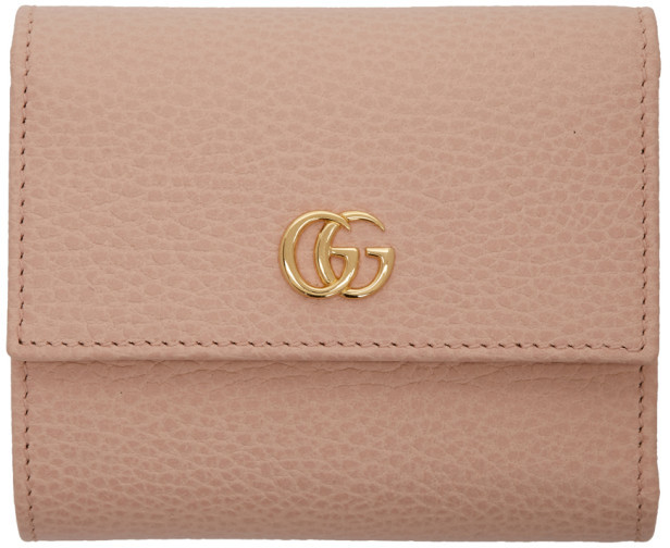 d3ac075fa9ae8 Pink Small GG Marmont Trifold Wallet