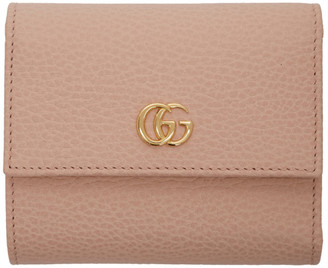 Gucci Pink Small GG Marmont Trifold Wallet