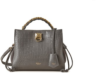 Mulberry Small Iris Charcoal Soft Printed Croc with Suede