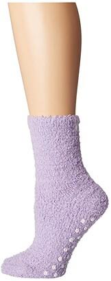 Karen Neuburger Solid Sock with Dot Gripper (Peri) Women's Crew Cut Socks Shoes