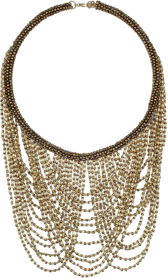Topshop Draped multi row beaded necklace