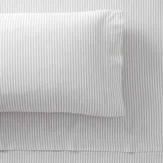 Pottery Barn Teen Classic Stripe Organic Sheet Set, Queen, Ivory/Faded Navy