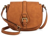 Merona Women's Timeless Collection Saddle Crossbody Faux Leather Handbag Butternut Wood
