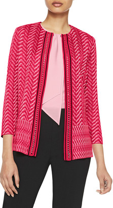 Misook Chain Trim Chevron Knit Jacket