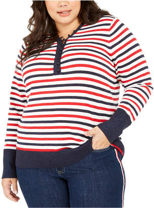 Tommy Hilfiger Plus Size Metallic Striped Button-Up Top