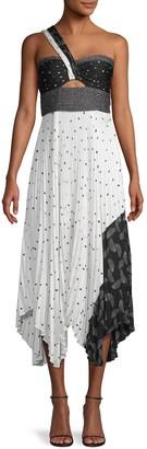 A.L.C. Mixed-Print Midi Dress