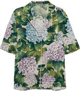 Dolce & Gabbana Floral-print Silk-blend Charmeuse Shirt - Green