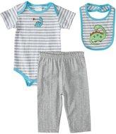 Absorba Dino Pants Set w/Bib (Baby) - Grey-6-9 Months