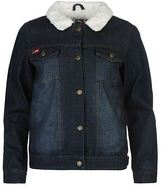 Lee Cooper Womens Lined Denim Jacket Warm Button Front Collar Neck Top Coat