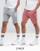 Asos Jersey Skinny Shorts 2 Pack Pink/Gray Marl SAVE