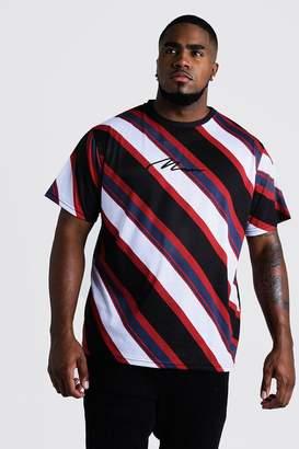 boohoo Big & Tall Diagonal Stripe T-Shirt MAN Embroidery