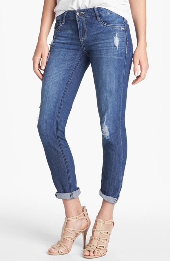 Nordstrom Wit & Wisdom Distressed Boyfriend Skinny Jeans (Indigo Exclusive)