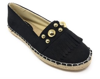 Women's Forever Young Faux Suede Gold Studs With Fringes Espadrille