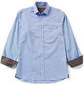 Visconti Long-Sleeve Contrasting Cuff Printed Dobby Woven Shirt