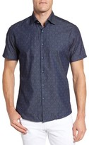 Stone Rose Men's Geometric Denim Sport Shirt