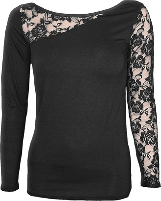 Spiral Direct Women's Gothic Elegance-Lace One Shoulder Top Long Sleeve