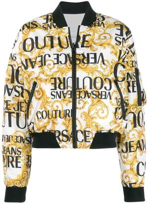 Versace logo print bomber jacket