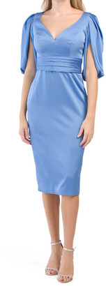 Satin Fitted Split Sleeve Cocktail Dress