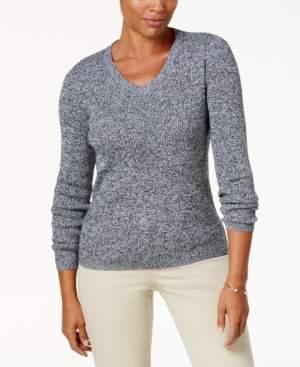 Karen Scott Ribbed V-Neck Sweater, Created for Macy's