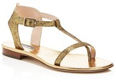 Sarah Jessica Parker Veronika Glitter T-Strap Flat Sandals