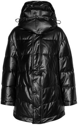 Balenciaga Logo leather puffer jacket
