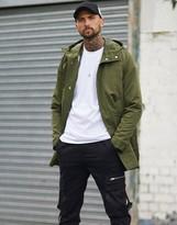 Asos Design DESIGN parka jacket with detachable vest liner in khaki