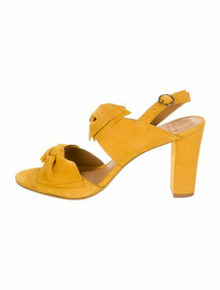 Sézane Suede Bow Accents Slingback Sandals w/ Tags Yellow