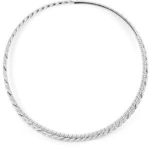 David Yurman Paveflex Two Row Necklace With Diamonds In 18K White Gold