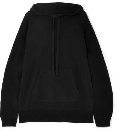 Allude Hooded Wool And Cashmere-blend Sweater - Black