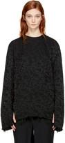Yang Li Black Embroidered Frayed Blouse
