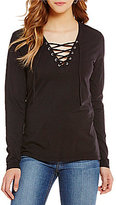 Joe's Jeans Knit Amore Lace-Up Neck Top