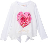 Baby Sara Long Sleeve Fancy Rose Heart Top With Hankie Hem (Toddler & Little Girls)
