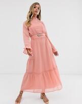 Asos Design DESIGN lace insert maxi dress with buckle belt