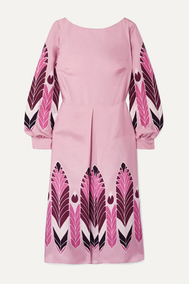 Valentino Pleated Printed Silk-twill Midi Dress - Pink