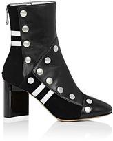 Maison Margiela Women's Leather Snap-Embellished Ankle Boots-BLACK