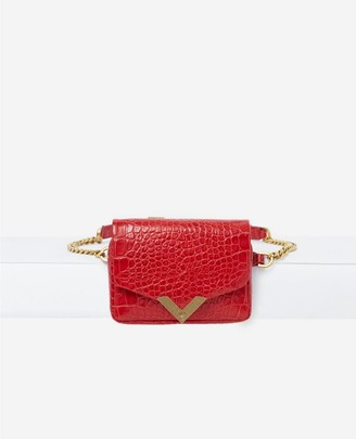 The Kooples Stella red, crocodile leather waist bag