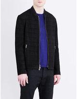 John Varvatos Checked Leather Jacket