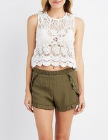Charlotte Russe Scalloped-Trim Crochet Crop Top