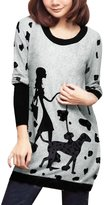 Allegra K Fall Winter Women Dog and Lady Pattern Tunic Knit Top M Light Grey