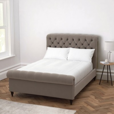 The White Company Aldwych Scroll Deep Buttoned Bed, Silver Grey Velvet, Double