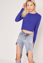 Missguided Colbalt Blue Contrast Knit Long Sleeve Sweater