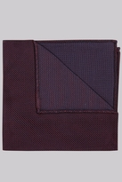 Moss Bros Premium Wine Puppytooth Silk Pocket Square