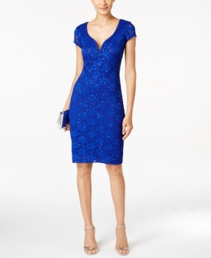 Connected Petite Sequin-Embellished Lace Sheath Dress