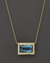 Ippolita 18K Gold Gelato Medium Baguette Pendant Necklace in London Blue Topaz with Diamonds, 16""