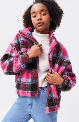 La Hearts Pink Plaid Sherpa Jacket